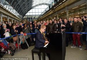 elton john at st pancras station